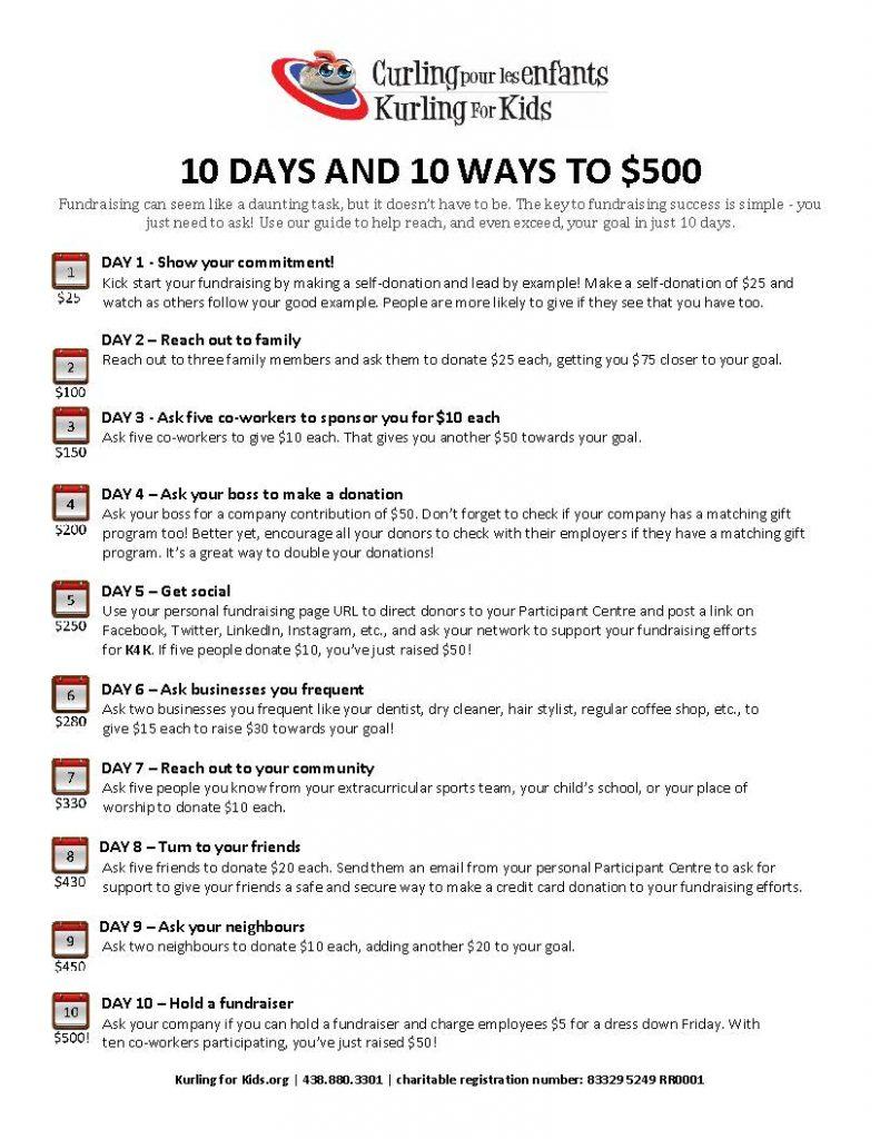 10 jours et 10 trucs pour collecter 500 $